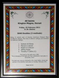 An image of a certificate showing the details of the special peal rung