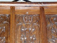 Wooden panelling at the front of the gallery