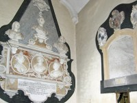 Two large monuments, one finely executed with 3 cameo figures and 2 sculptured busts